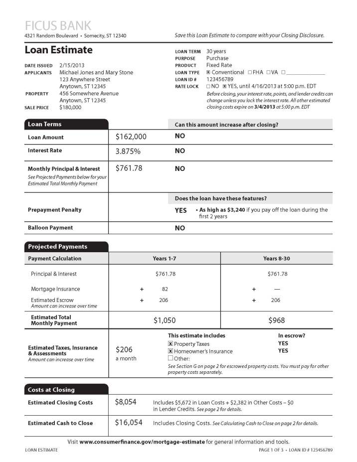 Loan Estimate Page 1